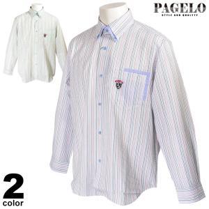 パジェロ PAGELO 長袖 カジュアルシャツ メンズ 2020春夏 ストライプ ボタンダウン ロゴ 04-1144-07|realtree