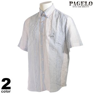 パジェロ PAGELO 半袖 カジュアルシャツ メンズ 2021春夏 ボタンダウン ストライプ ロゴ 13-2140-07|realtree
