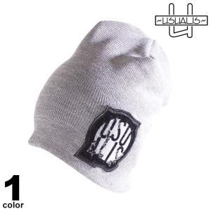 USUALIS ウザリス ニット帽 メンズ 2020秋冬 ワッペン インポート ロゴ 05-0104-60|realtree