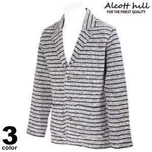セール 30%OFF ALCOTT HILL アルコットヒル テーラードジャケット メンズ 2020秋冬 ボーダー ラメ ロゴ 05-4103-10|realtree