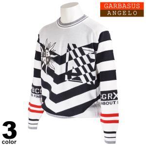 セール 30%OFF ANGELO GARBASUS アンジェロガルバス 長袖 セーター メンズ 2020秋冬 クルーネック ボーダー 刺繍 ロゴ 05-7001-03|realtree