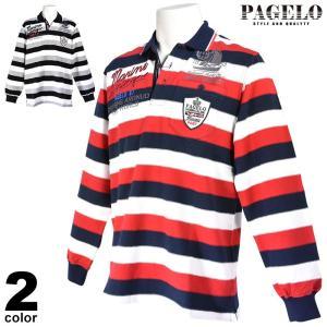 パジェロ PAGELO 長袖 ポロシャツ メンズ 2020秋冬 アップリケ ボーダー 07-1801-06|realtree