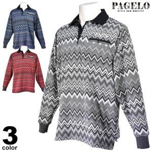 パジェロ PAGELO 長袖 ポロシャツ メンズ 2020秋冬 胸ポケット ボーダー 07-1802-17|realtree