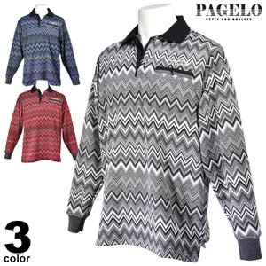 大きいサイズ パジェロ PAGELO 長袖ポロシャツ メンズ 2020秋冬 胸ポケット ボーダー 07-1802-171|realtree