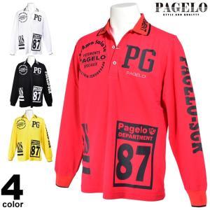 パジェロ PAGELO 長袖 ポロシャツ メンズ 2020秋冬 スポーティー ロゴ プリント ラインストーン 07-1803-07|realtree