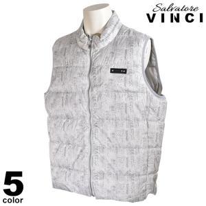 大きいサイズ ヴィンチ VINCI ベスト メンズ 秋冬 ジップアップ 中綿 総柄 ワッペン ロゴ 08-3504-091|realtree