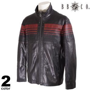 セール 30%OFF BBCO ビビコ レザー ジャケット メンズ 2020秋冬 羊革 ストライプ ロゴ 08-4002-12|realtree