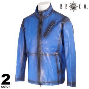 セール 30%OFF BBCO ビビコ レザー ジャケット メンズ 2020秋冬 羊革 ライダース ロゴ 08-4003-12|realtree