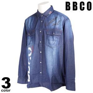BBCO ビビコ 長袖 カジュアルシャツ メンズ 2021春夏 デニム 刺繍 ポケット付き ロゴ 11-1001-01|realtree