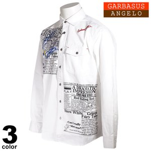 ANGELO GARBASUS アンジェロ ガルバス 長袖 カジュアルシャツ メンズ 2021春夏 デニム 刺繍 プリント ロゴ 11-1001-03|realtree