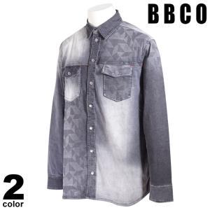 BBCO ビビコ 長袖 カジュアルシャツ メンズ 2021春夏 デニム 幾何学柄 ロゴ 11-1002-01|realtree