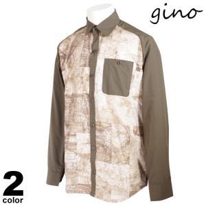 gino ジーノ 長袖 カジュアルシャツ メンズ 2021春夏 地図 プリント ロゴ 11-1002-02|realtree