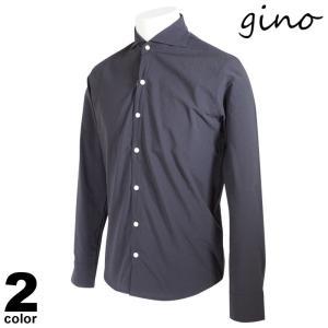 gino ジーノ 長袖 カジュアルシャツ メンズ 2021春夏 無地 ロゴ 11-1004-02|realtree