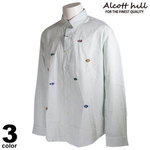 ALCOTT HILL アルコットヒル 長袖 カジュアルシャツ メンズ 2021春夏 ストライプ 刺繍 ロゴ 11-1006-10|realtree
