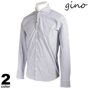 gino ジーノ 長袖 カジュアルシャツ メンズ 2021春夏 ストライプ ロゴ 11-1007-02|realtree