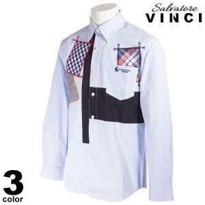 VINCCI ヴィンチ 長袖 カジュアルシャツ メンズ 2021春夏 ストライプ チェック柄 ボタンダウン ロゴ 11-1101-09|realtree