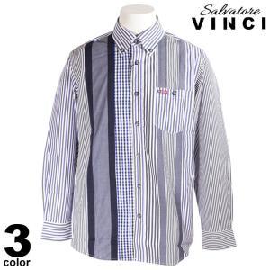 VINCCI ヴィンチ 長袖 カジュアルシャツ メンズ 2021春夏 ストライプ 総柄 ボタンダウン ロゴ 11-1102-09|realtree