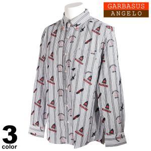 ANGELO GARBASUS アンジェロ ガルバス 長袖 カジュアルシャツ メンズ 2021春夏 ストライプ 総柄 ロゴ 11-1104-03|realtree