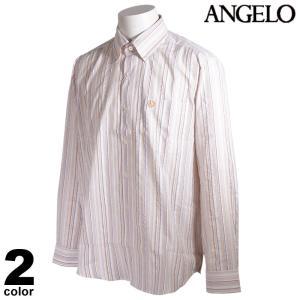 ANGELO アンジェロ 長袖 カジュアルシャツ メンズ 2021春夏 ストライプ ボタンダウン ロゴ 11-1104-04|realtree