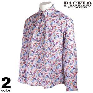 PAGELO パジェロ 長袖 カジュアルシャツ メンズ 2021春夏 ボタンダウン 総柄 ロゴ 11-1105-07|realtree