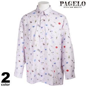 PAGELO パジェロ 長袖 カジュアルシャツ メンズ 2021春夏 ボタンダウン 総柄 ロゴ 11-1106-07|realtree