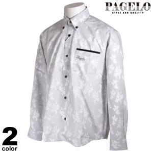 PAGELO パジェロ 長袖 カジュアルシャツ メンズ 2021春夏 ボタンダウン 植物 総柄 ロゴ 11-1111-07|realtree