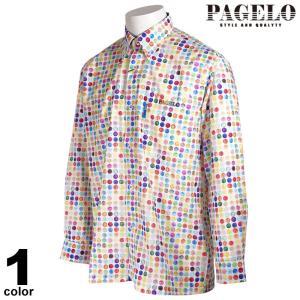 PAGELO パジェロ 長袖 カジュアルシャツ メンズ 2021春夏 ボタンダウン ドット柄 刺繍 ロゴ 11-1115-07|realtree