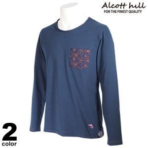 ALCOTT HILL アルコットヒル 長袖 カットソー メンズ 2021春夏 クルーネック イルカ ポケット ロゴ 11-1502-10|realtree
