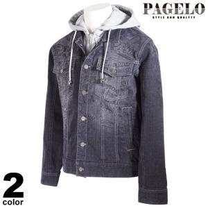 PAGELO パジェロ 長袖 デニムジャケット メンズ 2021春夏 フード取り外し可能 総柄 ロゴ 11-3101-06|realtree