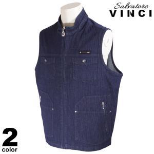 VINCCI ヴィンチ ベスト メンズ 2021春夏 デニム ジップアップ ロゴ 11-3505-09|realtree
