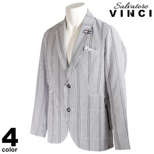 VINCCI ヴィンチ テーラードジャケット メンズ 2021春夏 ストライプ コットン 花柄 ロゴ 11-4101-09|realtree