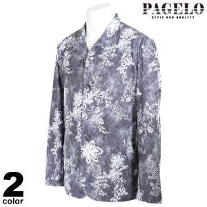 PAGELO パジェロ 長袖 カジュアルシャツ メンズ 2021春夏 総柄 ロゴ 11-4103-07|realtree
