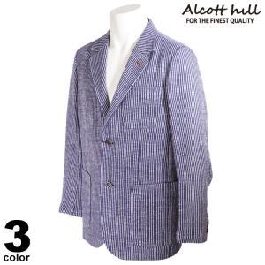 ALCOTT HILL アルコットヒル テーラードジャケット メンズ 2021春夏 麻 ストライプ ロゴ 11-4103-10|realtree