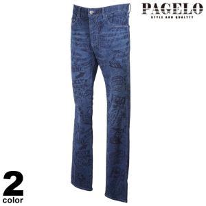 PAGELO パジェロ デニムパンツ メンズ 2021春夏 総柄 英字プリント ロゴ 11-5303-06|realtree