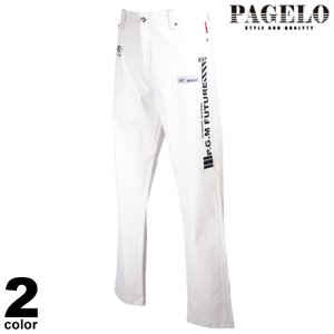 PAGELO パジェロ ロングパンツ メンズ 2021春夏 前ボタン プリント ストライプ ロゴ 11-5304-06n|realtree