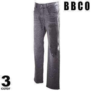 BBCO ビビコ デニムパンツ メンズ 2021春夏 ペイント ストレート ダメージ加工 ロゴ 11-5309-01n|realtree