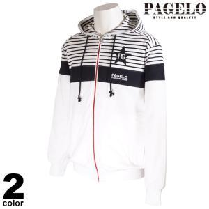大きいサイズ PAGELO パジェロ 長袖 パーカー メンズ 2021春夏 ジップアップ ボーダー ワッペン ロゴ 11-6503-071|realtree