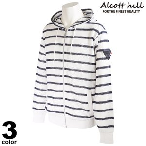 ALCOTT HILL アルコットヒル パーカー メンズ 2021春夏 フード付き ボーダー 軽量 ロゴ 11-7302-10|realtree