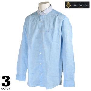 セール 70%OFF gee gellan ジーゲラン 長袖 カジュアルシャツ メンズ 春夏 麻 ボタンダウン ロゴ 2210-1032|realtree