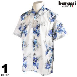 セール 70%OFF barassi バラシ 半袖 カジュアルシャツ メンズ 春夏 花柄 総柄 ロゴ 2250-1501|realtree