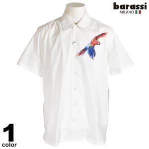 セール 70%OFF barassi バラシ 半袖 カジュアルシャツ メンズ 春夏 鳥柄 ペイント ロゴ 2250-1523|realtree