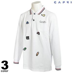 セール 80%OFF CAPRI カプリ 長袖 ポロシャツ メンズ 秋冬 ボーダー ワッペン ロゴ 3131-2033|realtree