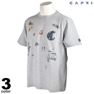 大きいサイズ セール 80%OFF CAPRI カプリ 半袖 カットソー メンズ 春夏 プリント クルーネック ロゴ 3231-25931|realtree