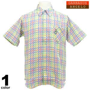 アウトレット アンジェロガルバス ANGELO GARBASUS ボタンダウンシャツ半袖 チェック柄 総柄 ワッペン 派手 薄手 63-2162-03-01|realtree