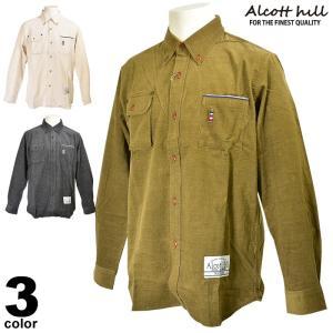 セール 70%OFF アルコットヒル ALCOTT HILL 長袖ボタンダウンシャツ メンズ 秋冬 コールテン ワンポイント 65-1105-10|realtree