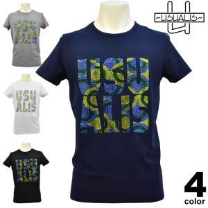 セール 50%OFF USUALIS ウザリス 春夏 Tシャツ(半袖) メンズ ロゴ ラインストーン スカル バックプリント クロス 81-2509-60|realtree