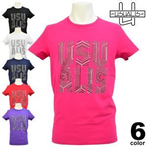 セール 50%OFF USUALIS ウザリス 春夏 Tシャツ(半袖) メンズ ロゴ ラインストーン ストレッチ 81-2510-60|realtree