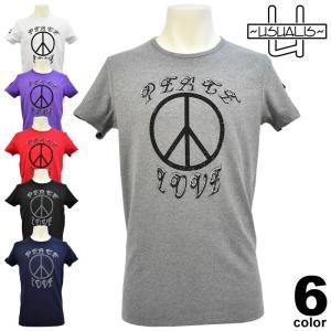 セール 50%OFF USUALIS ウザリス 春夏 Tシャツ(半袖) メンズ ラインストーン LOVE&PEACE ストレッチ 81-2520-60|realtree