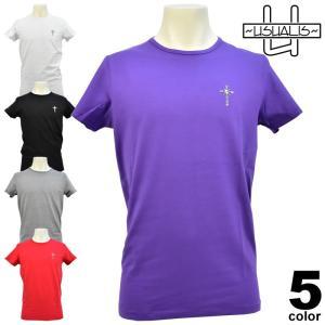 セール 50%OFF ウザリス USUALIS 春夏 Tシャツ(半袖) メンズ ロゴ スカル ラインストーン バックプリント クロス 81-2524-60|realtree