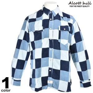 特価商品 50%OFF ALCOTT HILL アルコットヒル 長袖パッチワークシャツ メンズ 秋冬 コールテン 水色 87-1006-10-43|realtree